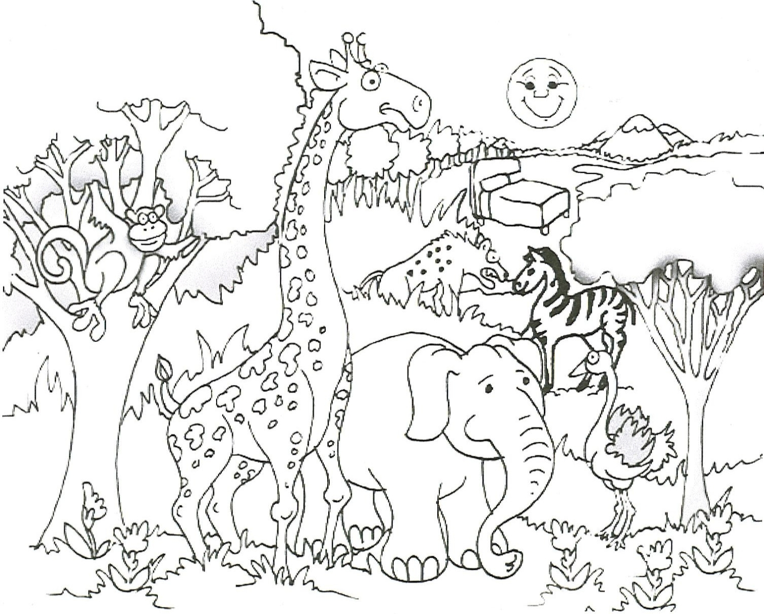 Line Art Jungle Animals : African animal coloring page pinterest