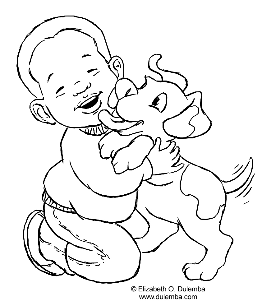 coloring page of a boy - dog and boy coloring page coloring pages