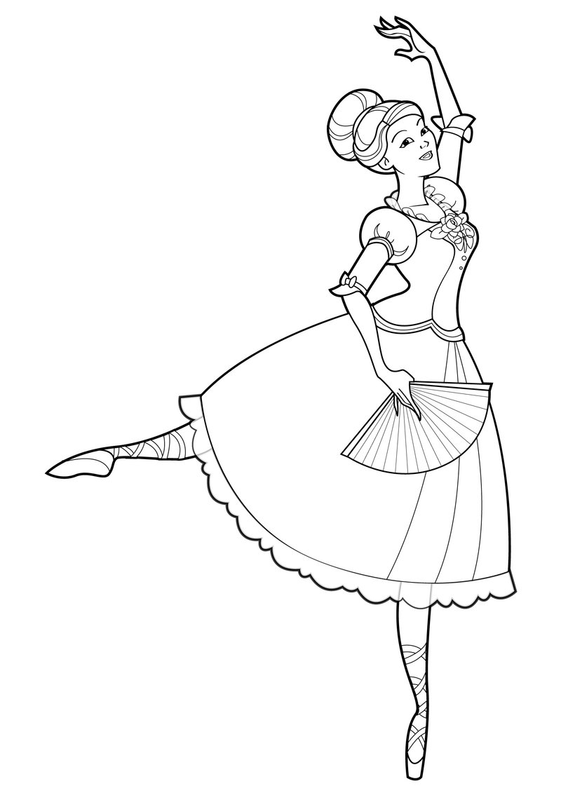 barbie and the 12 dancing princesses coloring page only