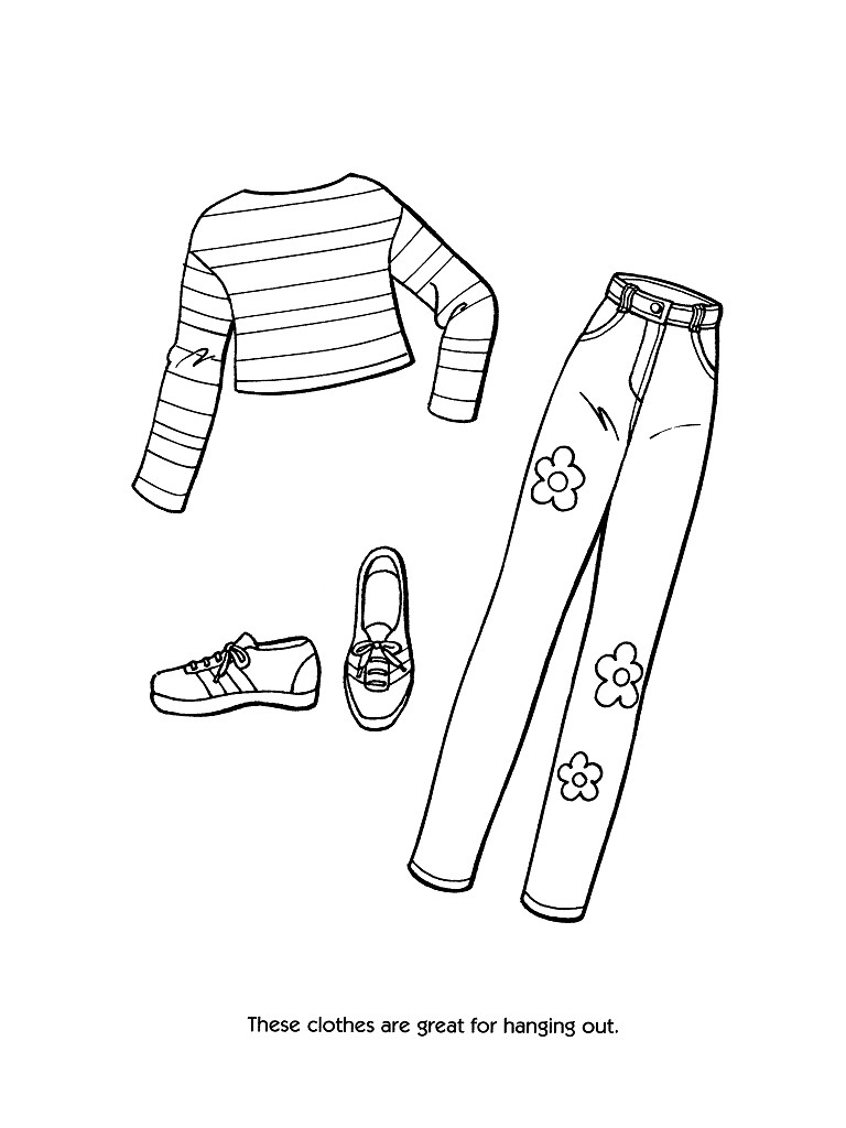 barbie fashion clothes coloring page