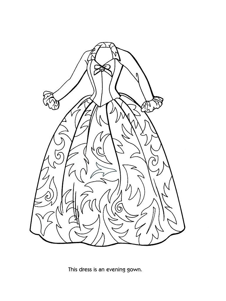 princess gown coloring pages - photo#18