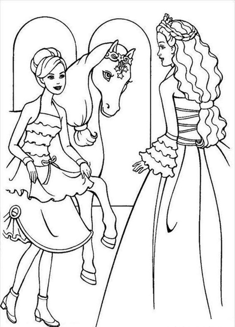 Barbie Horse Coloring Pages 01