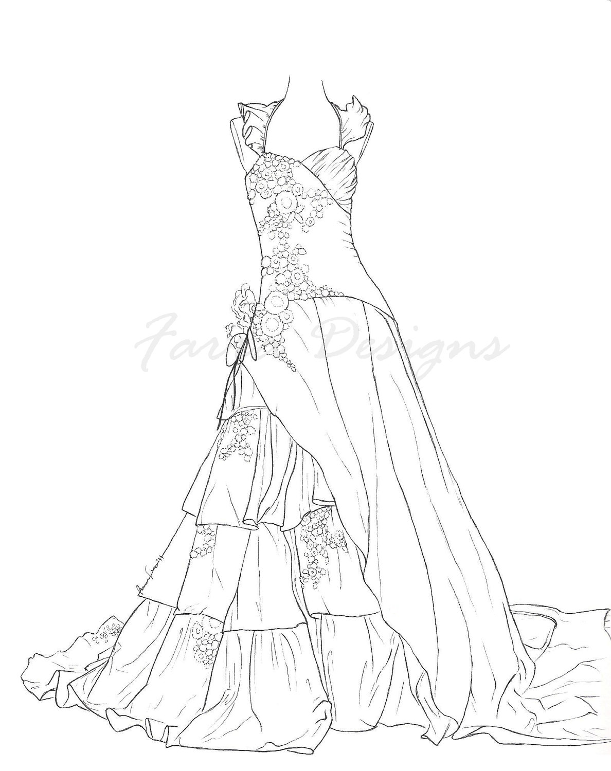 Coloring Pages Barbie Wedding Dress Sketch Coloring Page