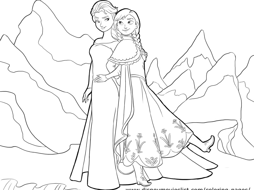 Coloring Pages For Elsa And Anna : Coloring pages anna and elsa only