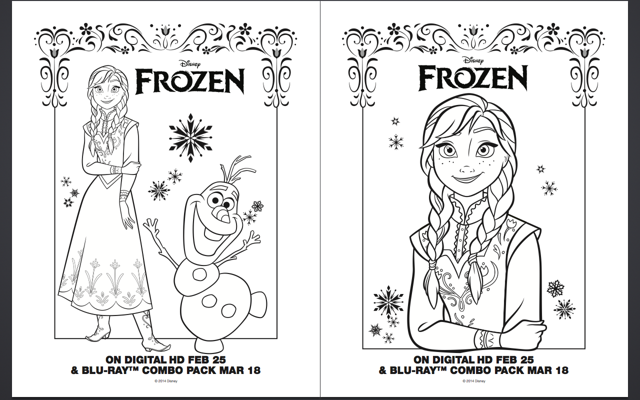 Frozen Coloring Pages A4 Disney frozen coloring pages book covers