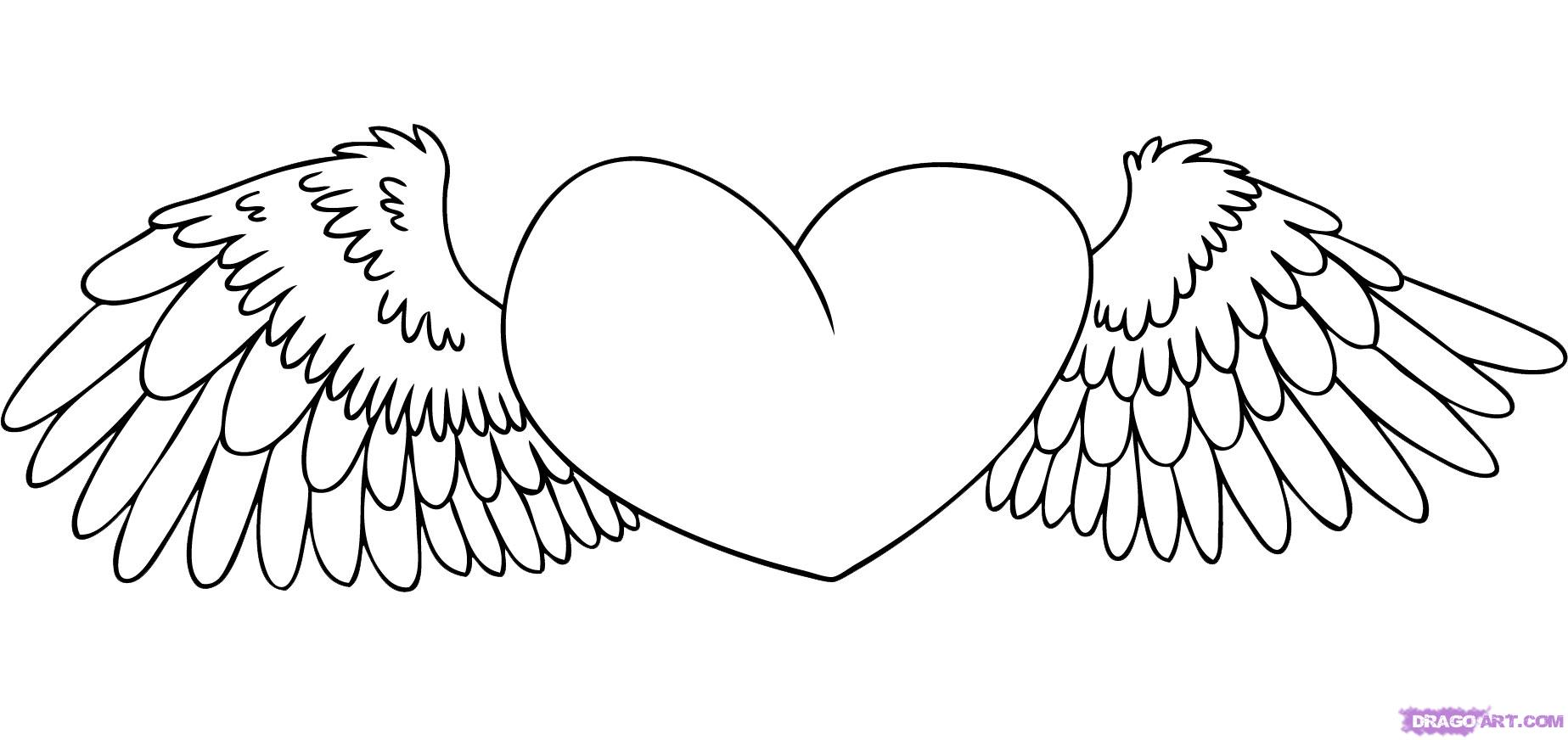 hearts with wings coloring pages