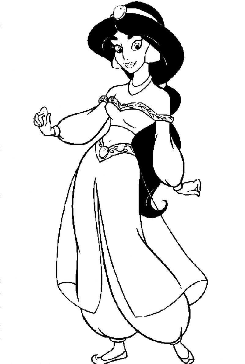 Colouring Pages Disney Jasmine : Jasmine coloring pages only