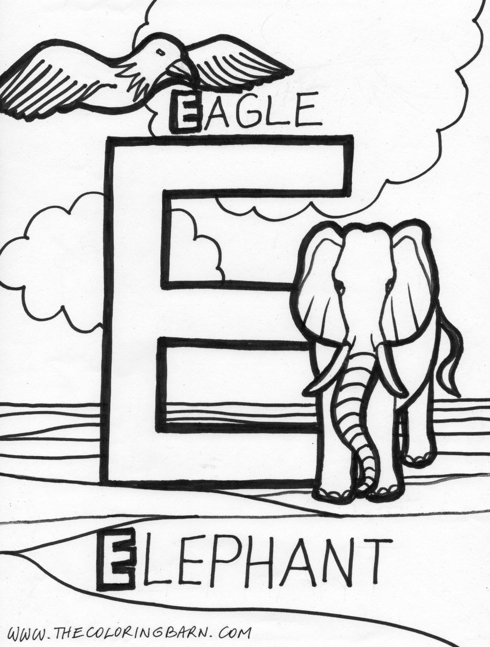 e 12 colouring pages
