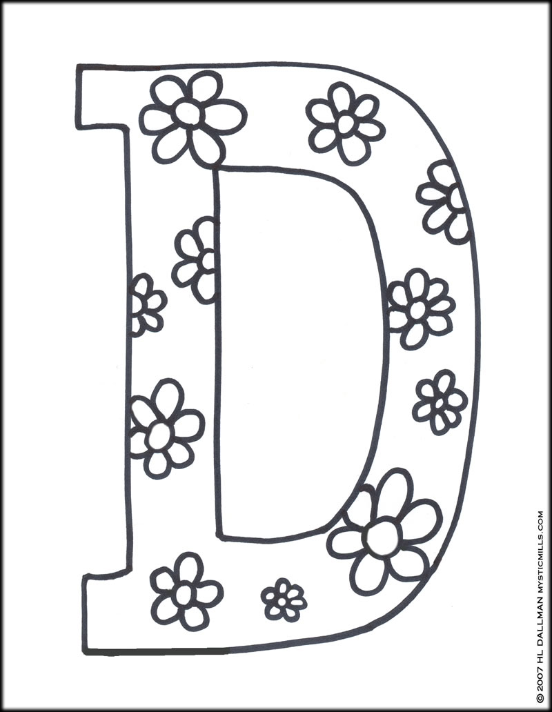printable letter d coloring pages