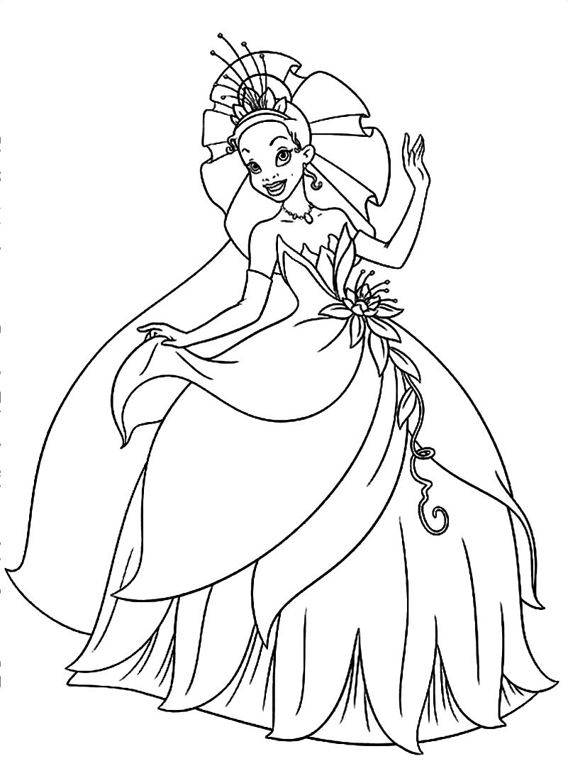 tiana coloring pages