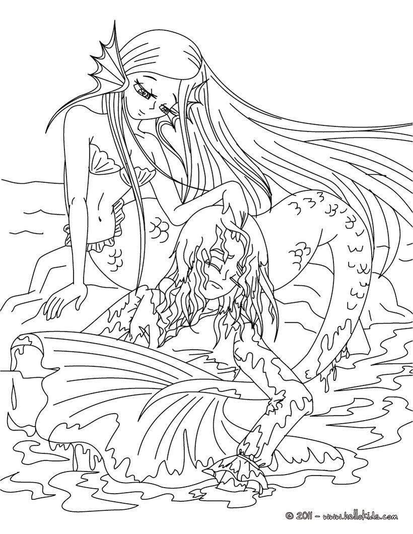 Coloring pages for teenagers difficult mermaid only for Boy mermaid coloring page