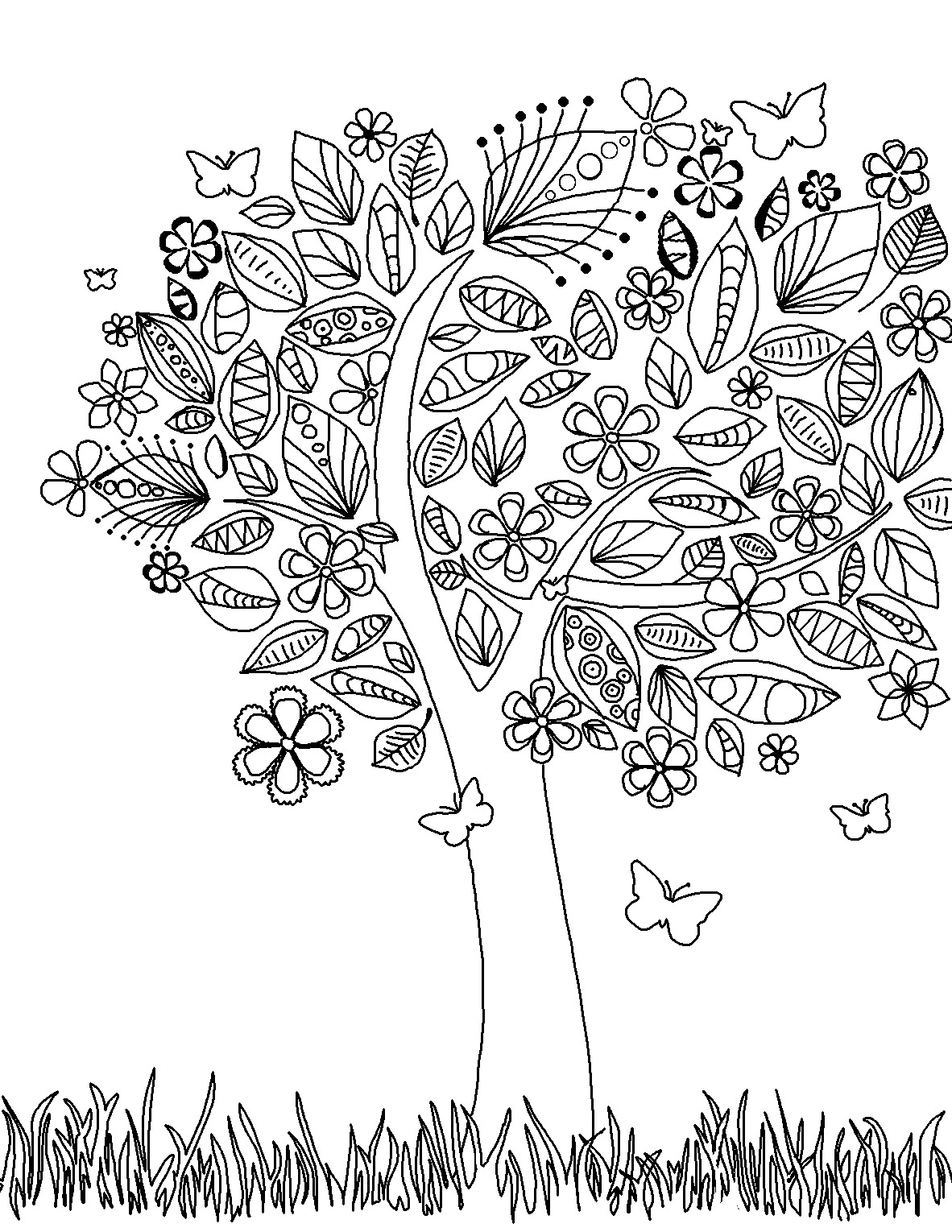 free printable coloring pages for adults zen :  Elephant Pages Tree Coloring Page Free Adult Coloring Pages