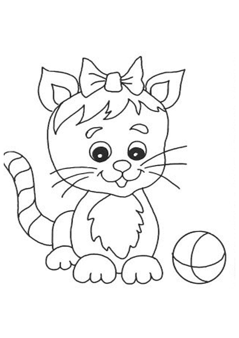 Cute Cat Coloring Pages 01
