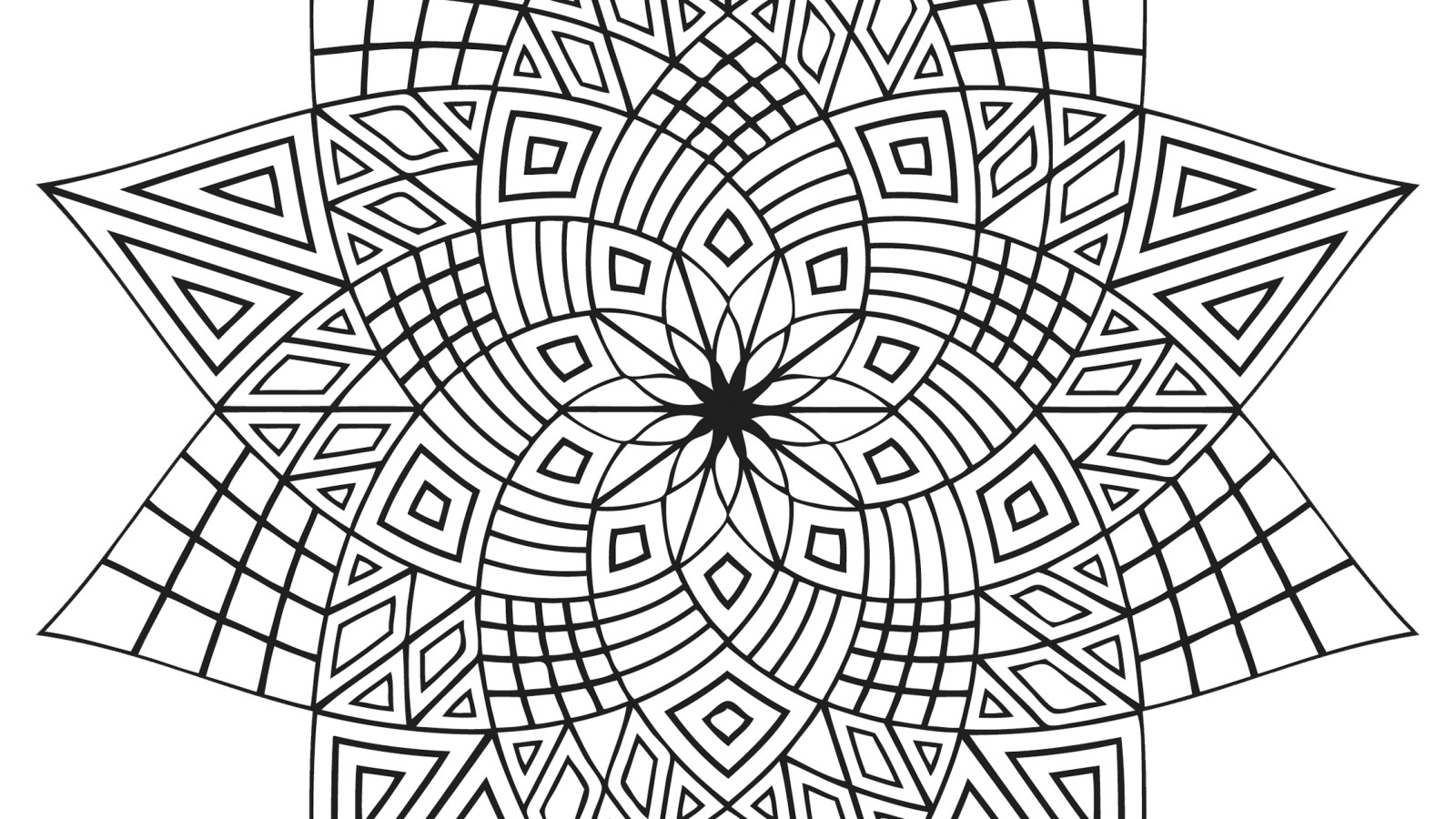 Abstract Shapes Coloring Pages : Geometric coloring pages only