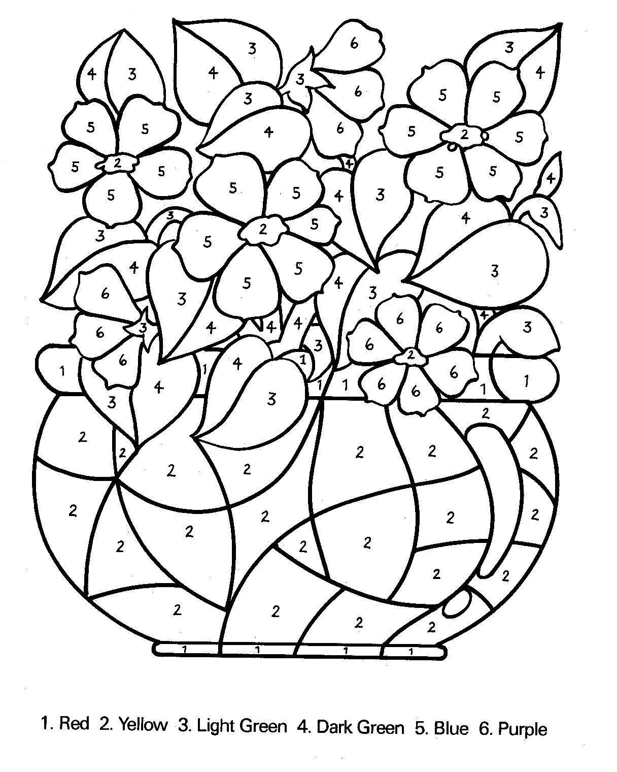 free coloring pages of colour by number 1