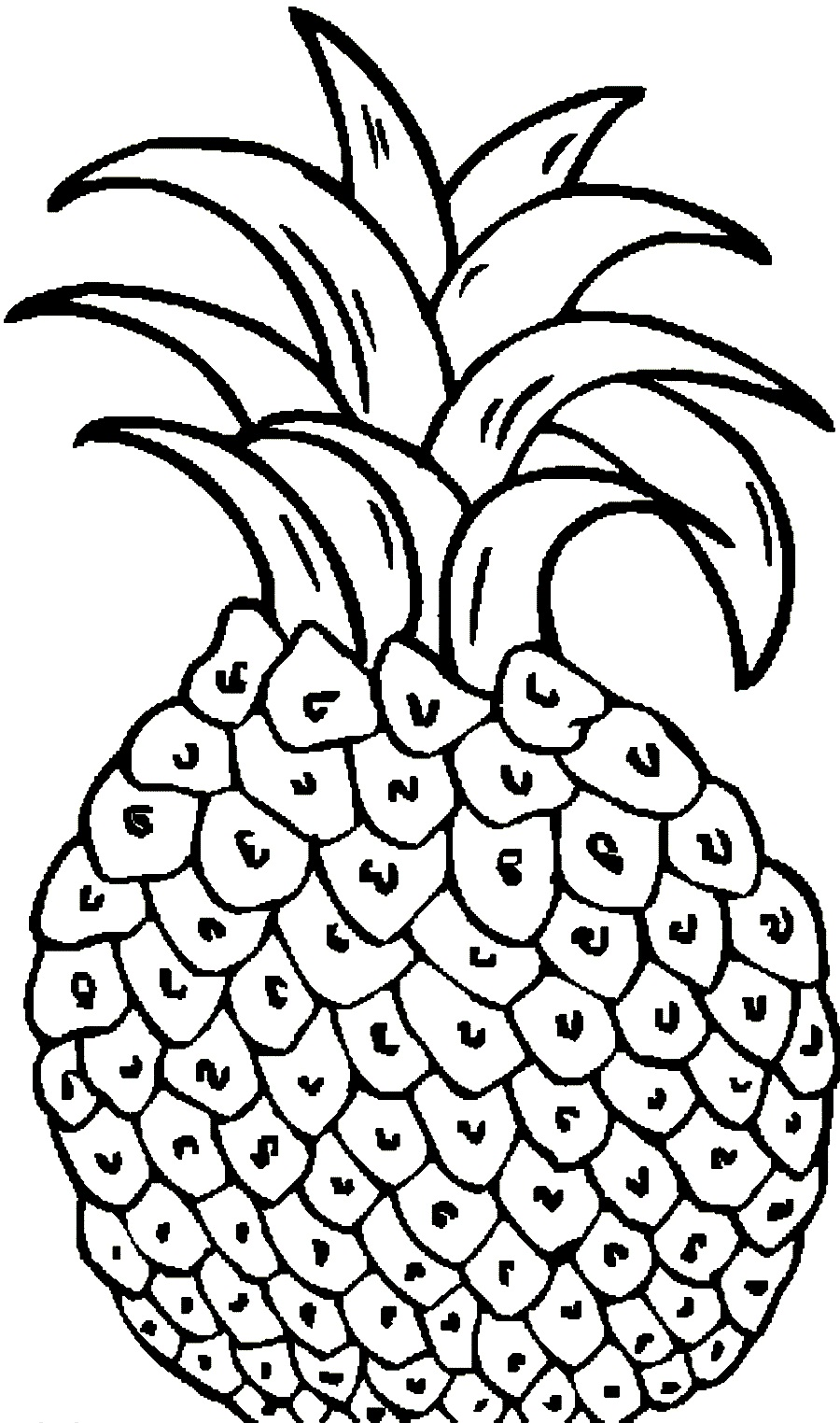 Free coloring pages of fruit pineapple