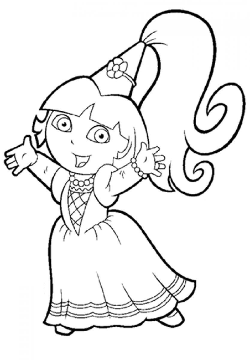 Dora princess coloring pages ~ princess dora the explorer coloring pages