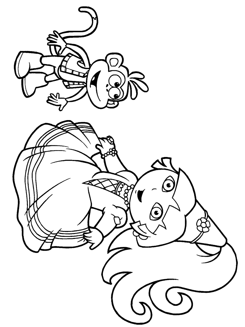 Princess dora the explorer coloring pages only coloring for Explorer coloring pages