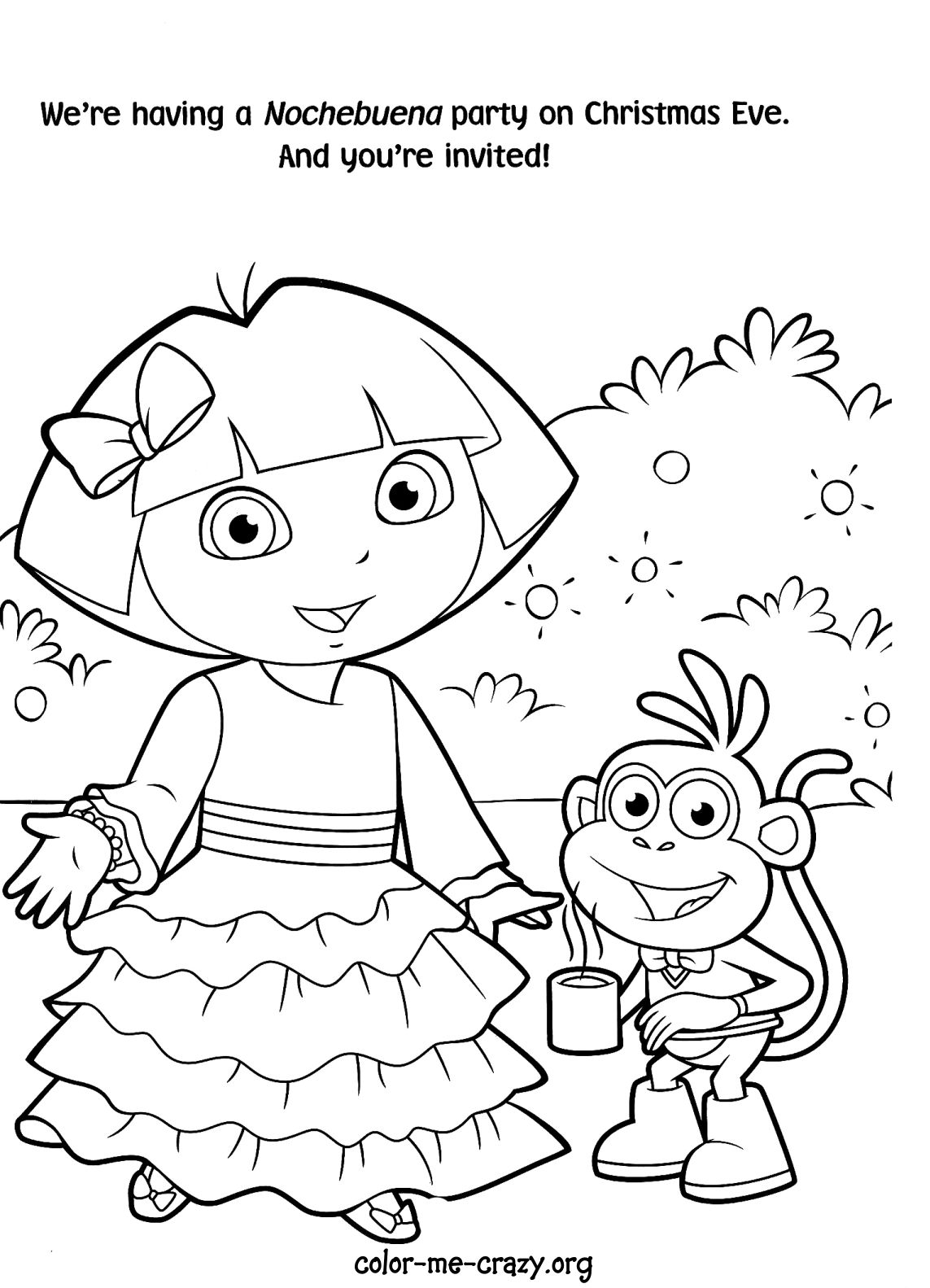 Printable Princess Dora The Explorer Coloring Pages