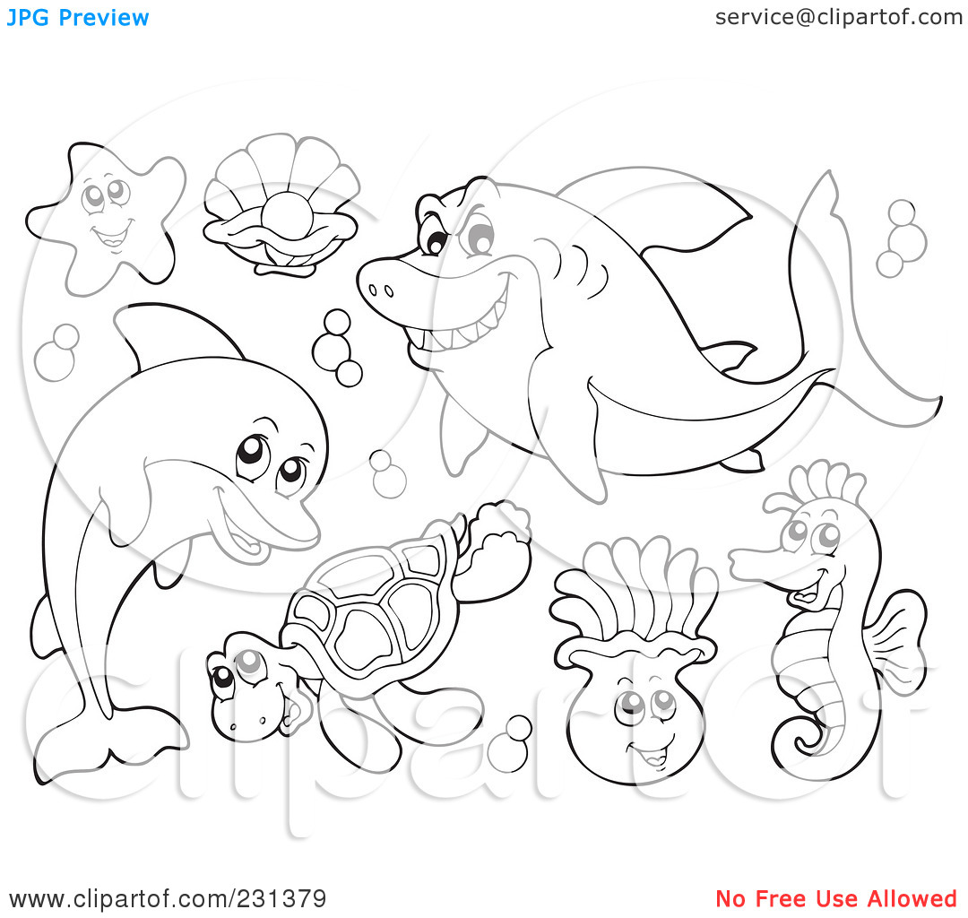 ocean life coloring book page coloring pages