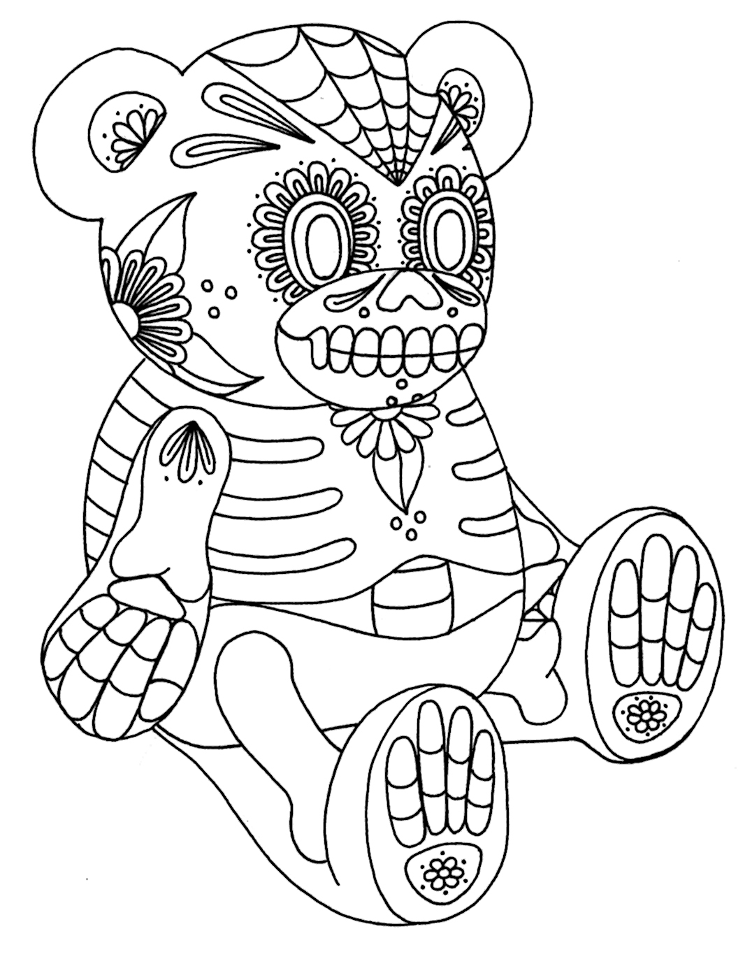 Free Coloring Pages Of Sugar Skull Teddy Bear Skulls Coloring Pages