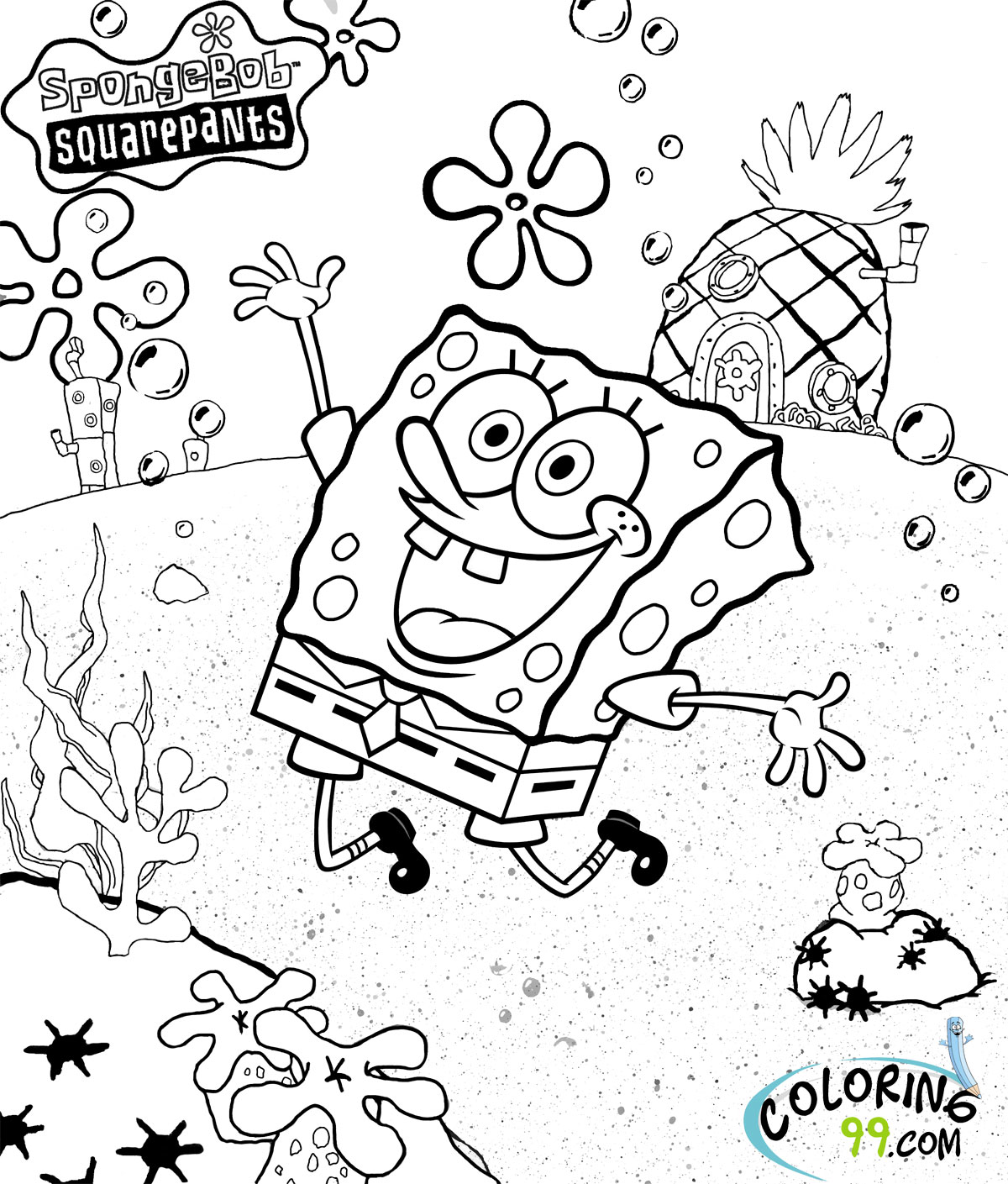 spongebob and gary coloring page Only Coloring Pages