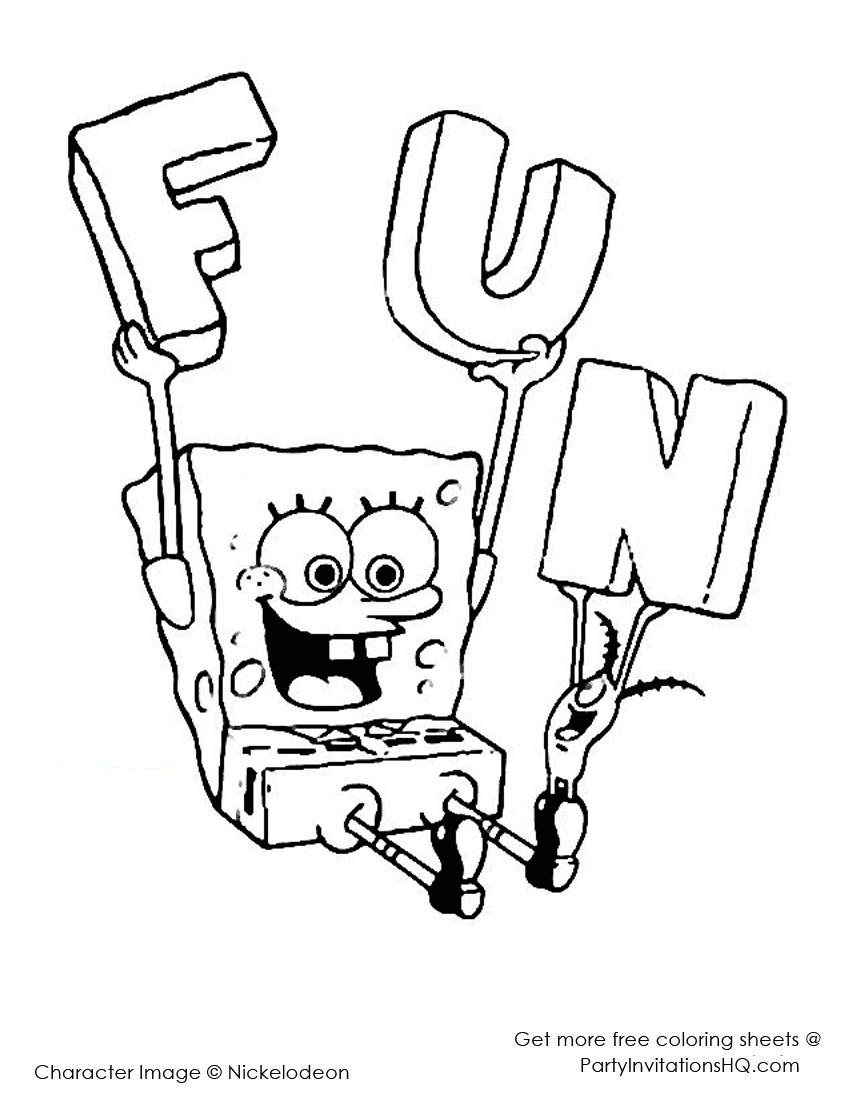 77 Free Colouring Pages Spongebob Printable  Images