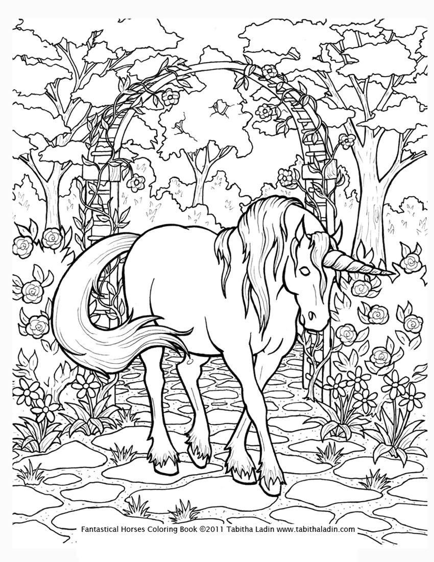 Free coloring pages of unicorn