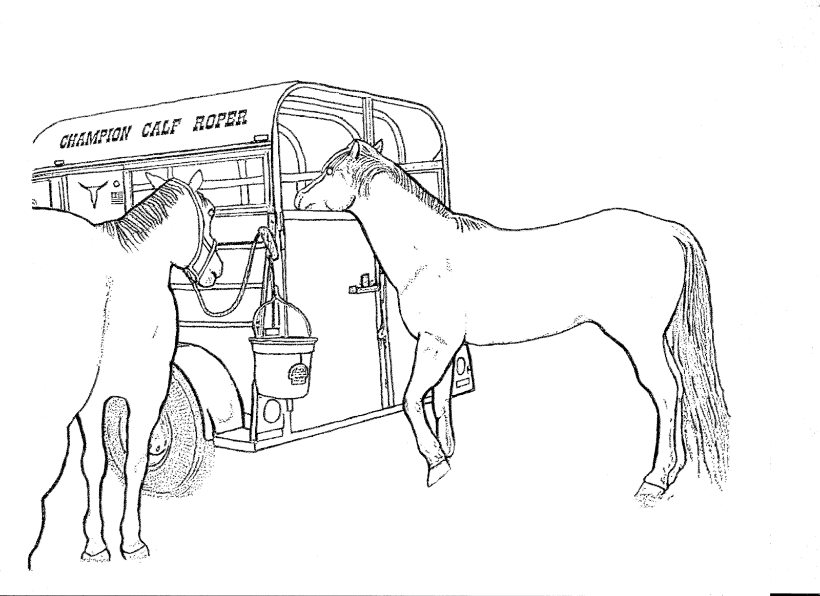horses herding cattle coloring pages - photo#36