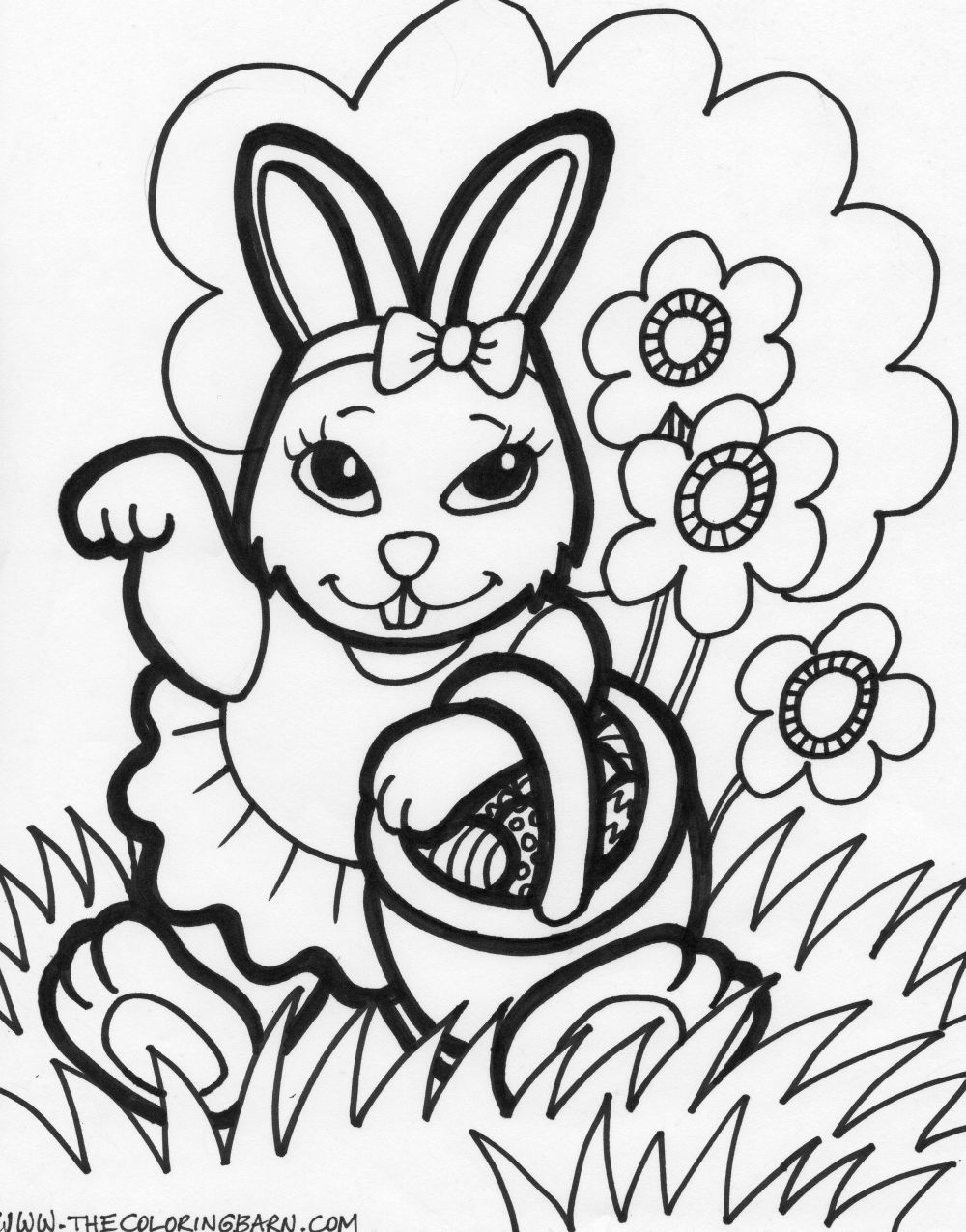 Easter bunny coloring only coloring pages for Coloring pages bunny