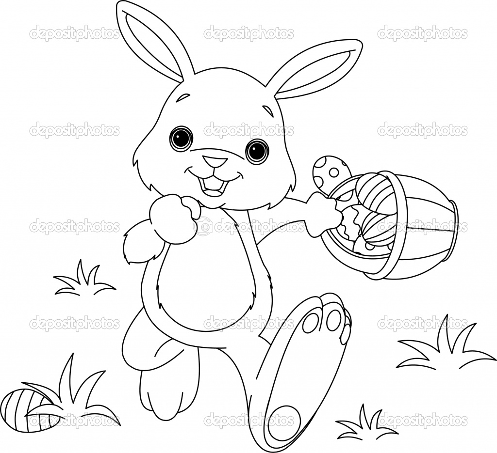 Coloring Pages For Easter Bunny : Easter bunny coloring pages only