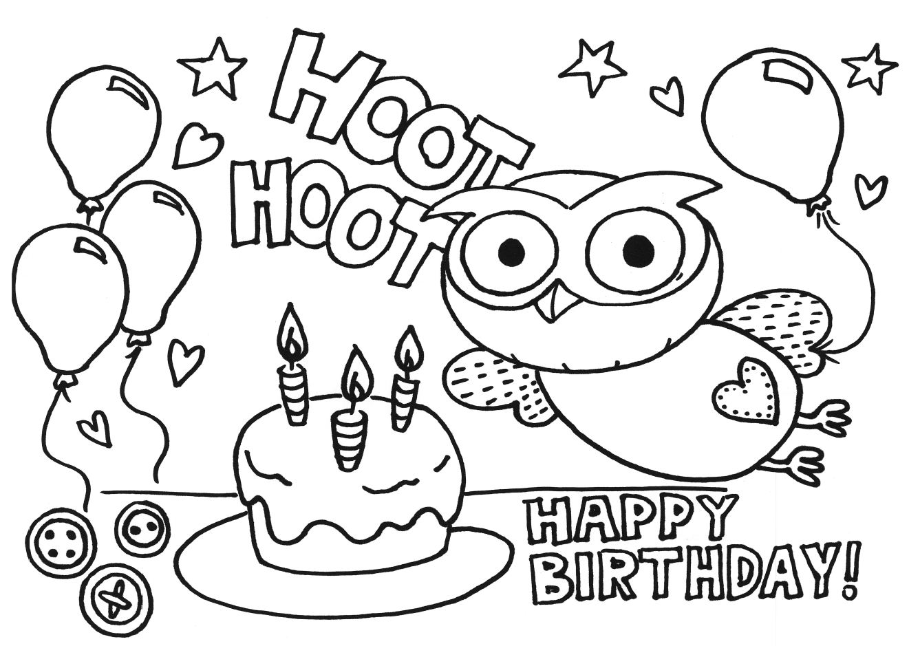 coloring pages brithday - photo#6