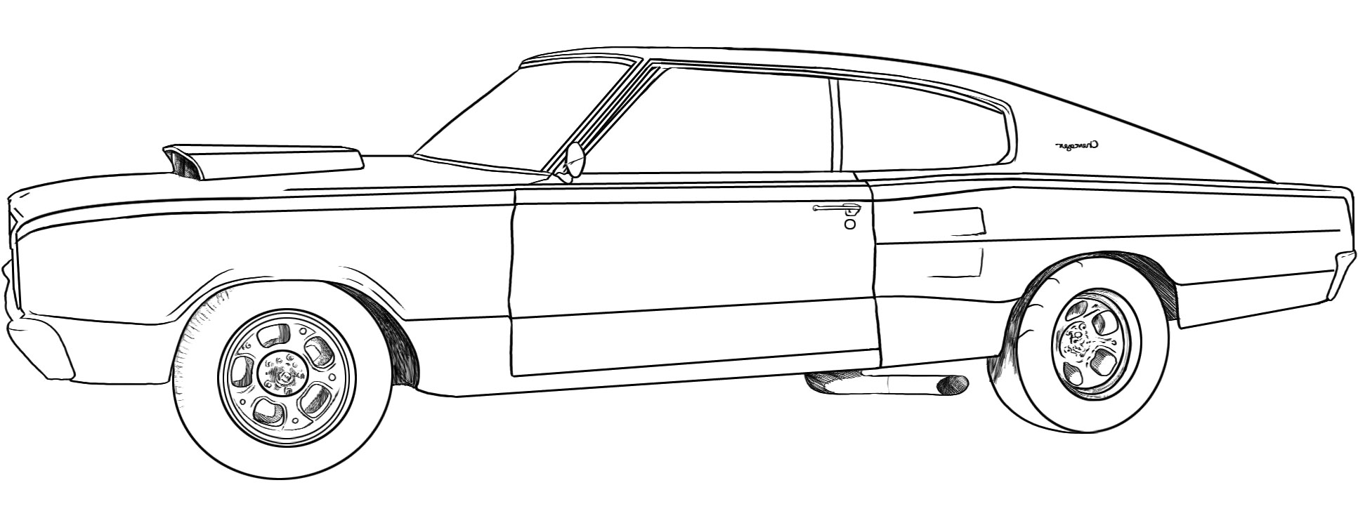 dodge challenger coloring page | Only Coloring Pages