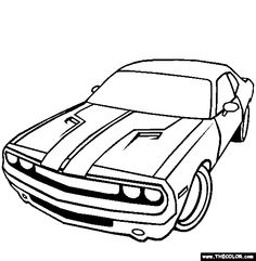 Dodge Challenger Coloring Page 03