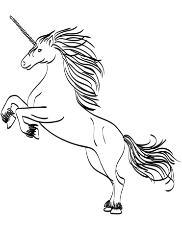 Amazing Rearing Unicorn Coloring Pages for Kids 914834294234