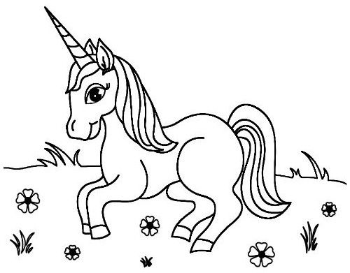 Cute Unicorn in the Garden Coloring Page 7149147384