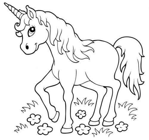 Cute Unicorn with Smiling Coloring 29348293844