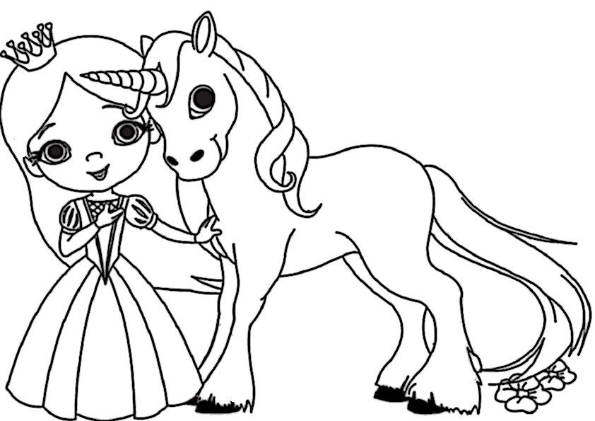 Princess and Unicorn Coloring Pages for Kids 29384293849234
