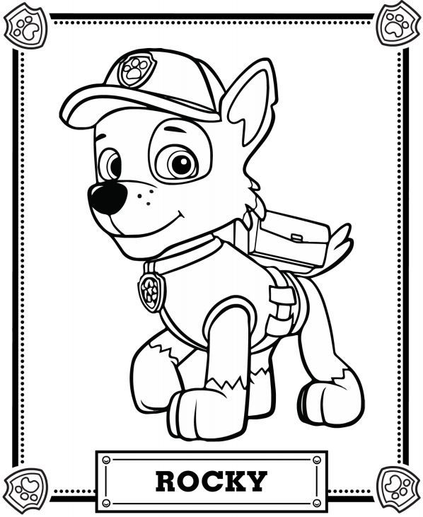 Rubble Paw Patrol Coloring Page 01