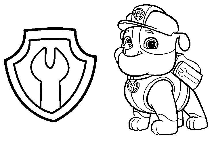 Rubble Paw Patrol Coloring Page 03