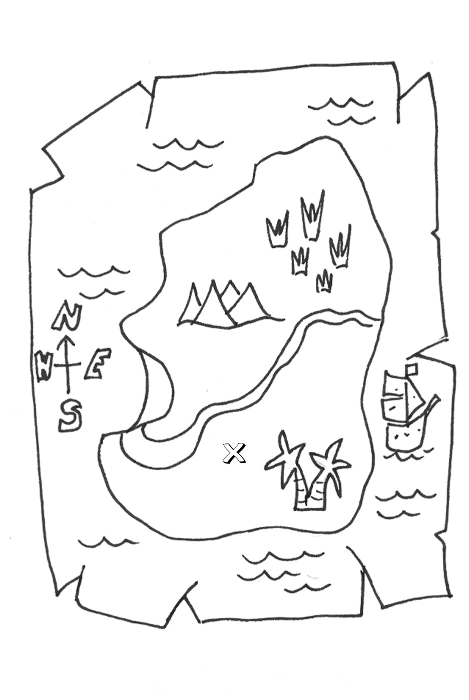 Teasure Map Coloring Page 01