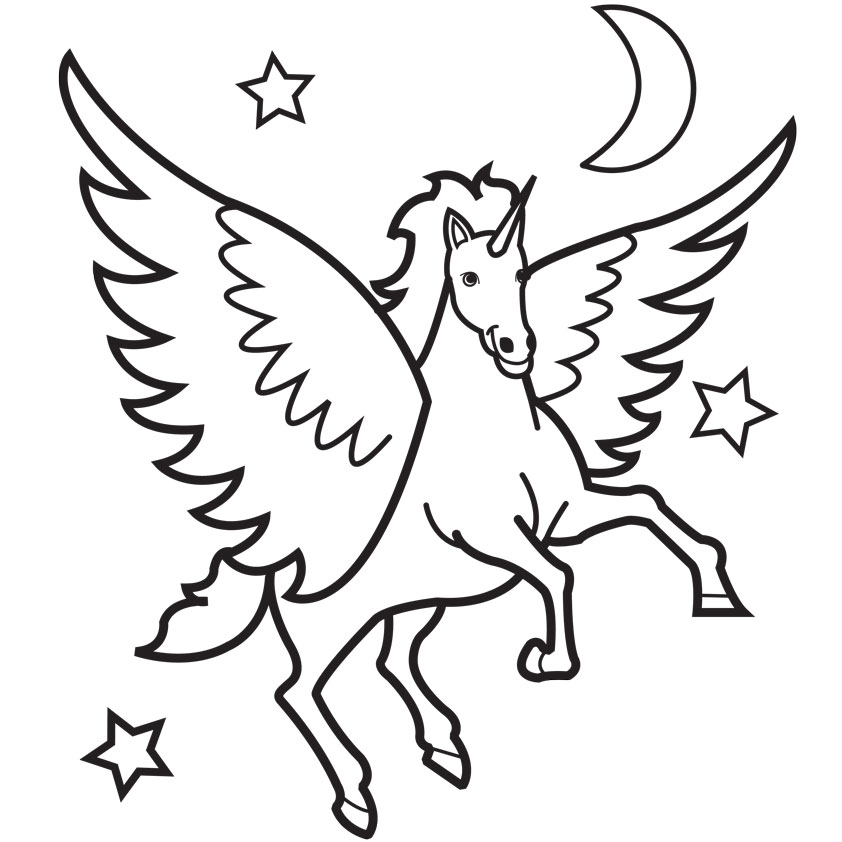 Unicorn Flying Nocturnally Coloring Page 39482938423984