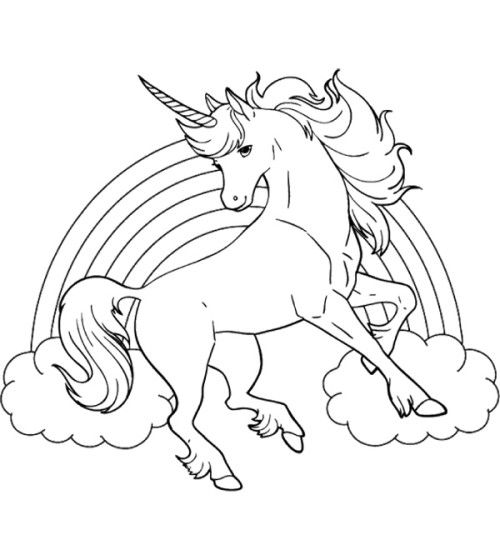 Unicorn Rainbow Coloring Pages 198989482394234