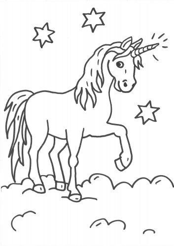 Unicorn Top of the Clouds Coloring Page 92834239482394823