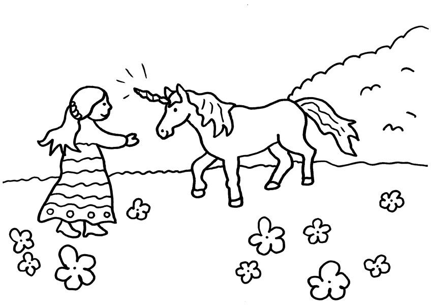 Unicorn and Girl Love Each Other Coloring Page for Kids 46198349138749314