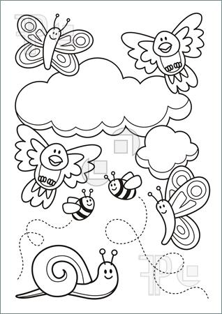 Coloring Book Spring Illustration 01