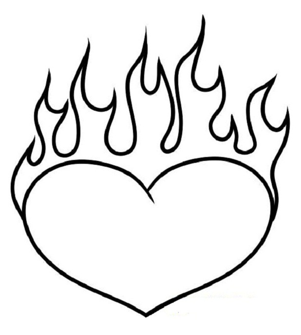 Coloring Pages Of Hearts With Flames 01