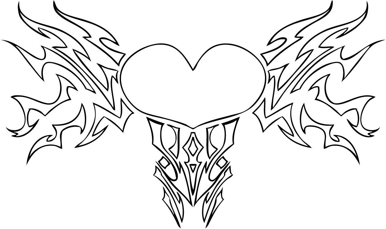 coloring pages of hearts with wings and roses 01