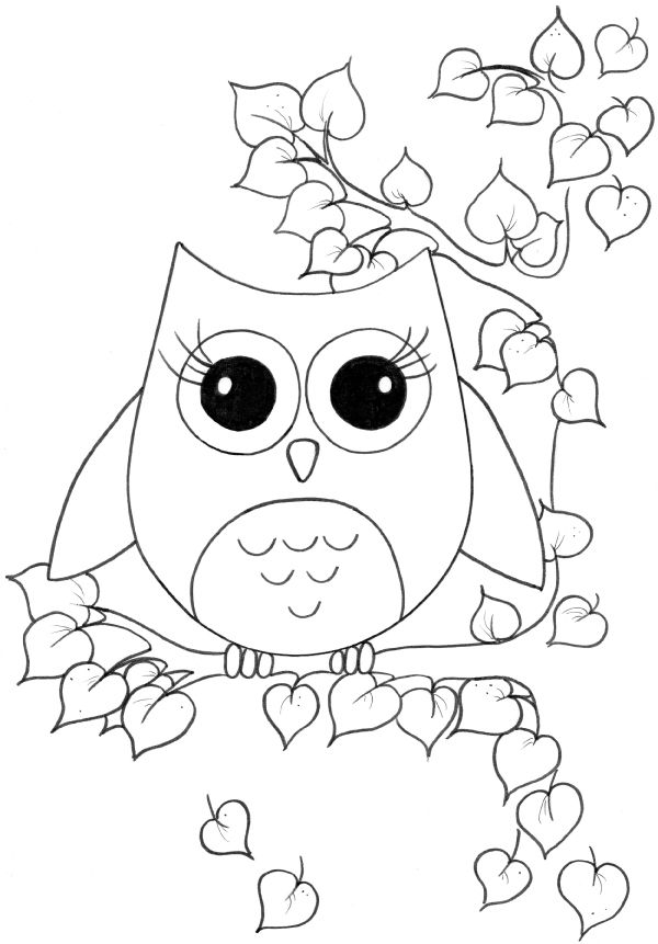 Cute Owl Coloring Page 01
