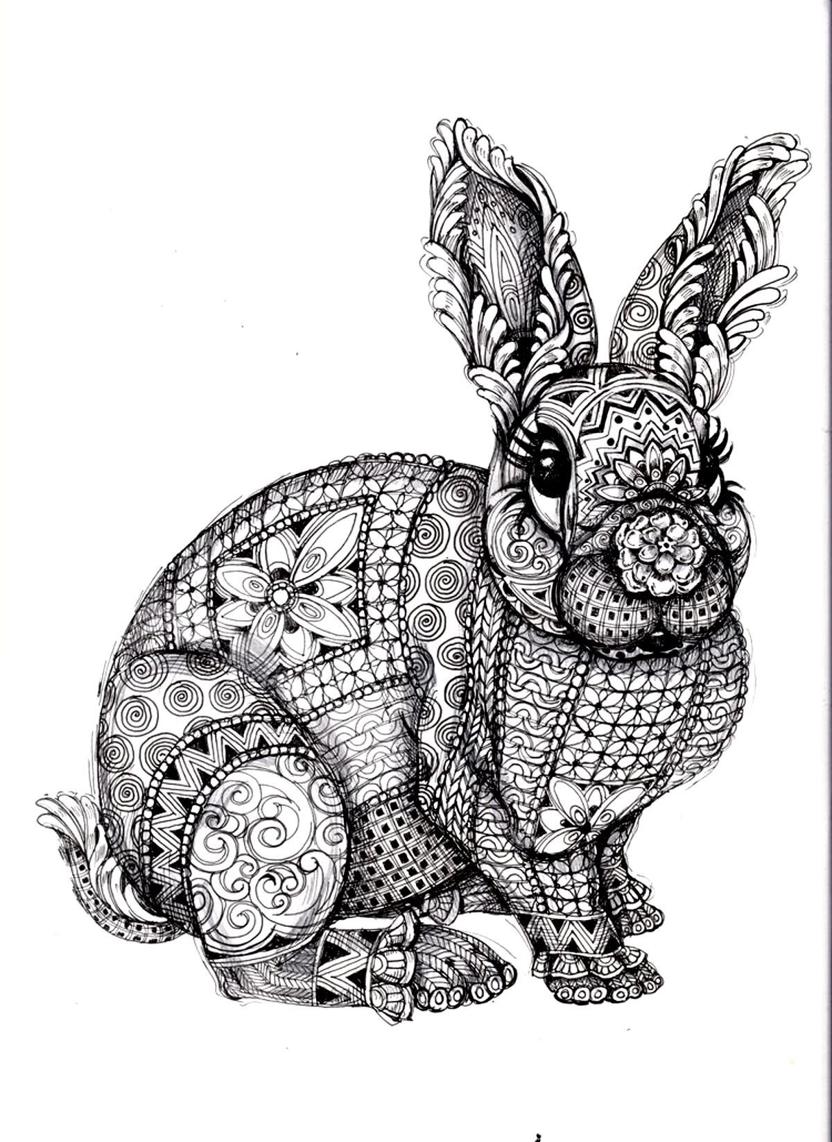 Difficult Rabbit Adult Coloring Page 01